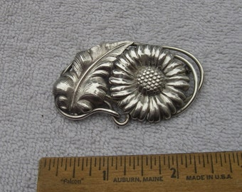Large Heavy Sterling DAISY  / Sunflower Brooch