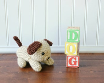 Baby gift under 20 etsy crochet puppy plush puppy stuffed animal toddler gift childrens imaginative play baby negle Image collections
