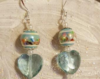 Silver Heart Earrings, Valentine Earrings, Blue Heart Earrings, Valentine Heart Earrings, Valentine Earring Gift, Valentines Jewelry