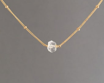 Herkimer Diamond Quartz Satellite Chain Necklace available in gold fill, rose gold fill, or silver