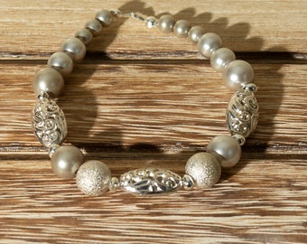 Silver Filigree Beaded Bracelet