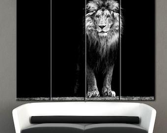 BlackWhite Lion Art Decor, BW Lion, Lion close up, bw canvas lion, Lion Watercolor Wall Art Print, Lion painting, Lions mane, Lion Art Decor