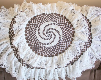 Vintage Round Crochet Table Topper,  Ruffled Doily Large Round Doily, Round Crochet Table Topper,