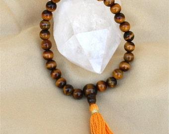 27 Bead Tiger Eye Pocket Mala - Non Stretch Tigereye Yoga Prayer Beads