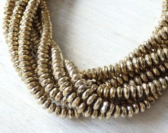 Gold tone hematite beads - one full strand of 6x3mm sparkling faceted gold hematite beads, faceted hematite beads, faceted gold rondelles