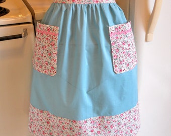 Old Fashioned Vintage Style Half Apron in Teal with Floral Trim