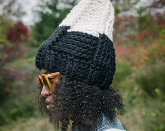 The Tepee Hat in Ebony&Ivory/Chunky Winter Hat/Crochet Hat/Crochet Ski Hat/Ready to Ship