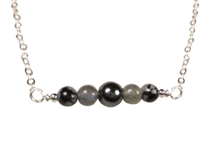 Hematite, Labradorite & Snowflake Obsidian Necklace