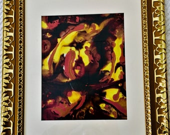 """Alcohol ink Abstract Painting 14X17"""" in frame"""