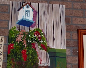 Bird House Condo-Original Oil Painting by Sharon James 20 inches x 24 inches