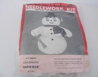 Vintage Bucilla Kit, 1960s Bucilla Christmas Snowman, Plush Snowman Decor, Bucilla Snowman Kit, Christmas Felt Kit, 1960s Christmas