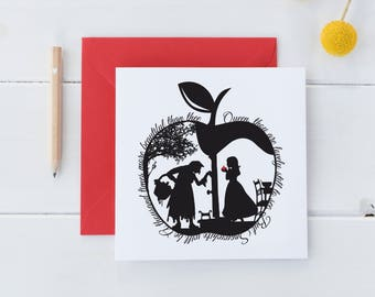Square Snow White's Apple Card • Fairytale Greeting Card • Greetings Card