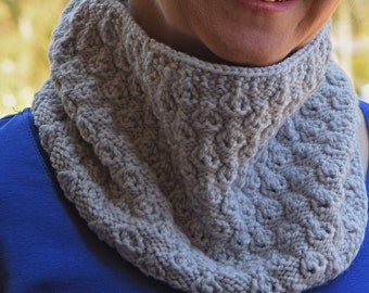 Textured Lace Knit Cowl Pattern - LINDEN COWL Knitting Pattern PDF - Digital Download