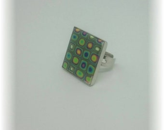 Millefiori from the 70's - ring square 18 mm adjustable