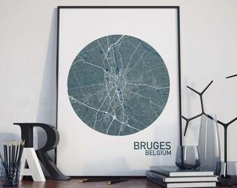 Bruges, Belgium City Map Print