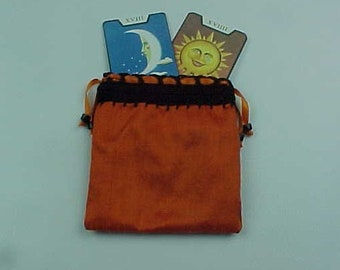 """Silk Rune Bag, Wiccan Pouch, Deep Orange, 4.5""""X5"""", Cotton Lining, Sturdy Drawstring Pouch, Ready To Ship, Treasure Bag, Medicine Pouch."""