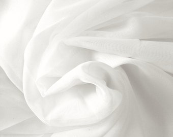 "White Sheer Voile Fabric 118"" Wide Curtain Drapery and Apparel per yard 100% polyester"