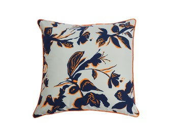"Blue pillow with large ""Bahia"" flowers"