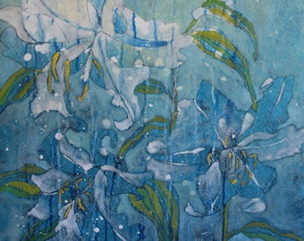 """Abstract Floral Giclee Print by Shelley Detton, """"Lilies in Blue II"""" Impressionist Painting Blue and White Flowers, Home Decor Fine Art Print"""