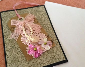 Handmade Shabby Chic Collage Greetings Card with Pink Insert, plus envelope