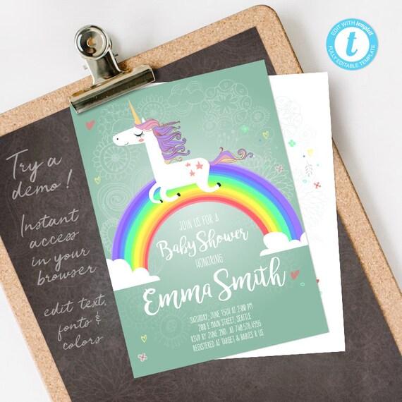 Unicorn Baby Shower Invitation, Unicorn Baby Shower, Rainbow Baby Shower Invitation, editable INSTANT DOWNLOAD printable at home