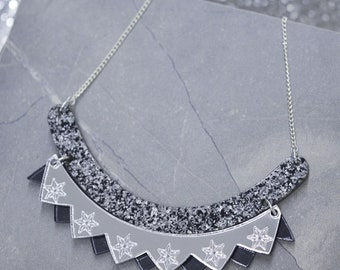 Colour pop bib necklace - granite, silver & gunmetal