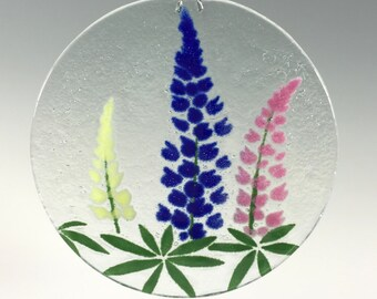 Lupine Suncatcher, Small Lupine Window Hanging, Lupines, Flowers, Floral Decor, Blue, Pink