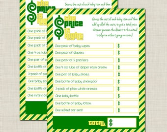 Green and Yellow Price is Right Baby Shower Game