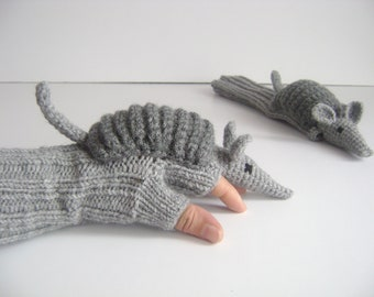 Crochet armadillo winter glove, knit wool gloves, gray animal costume , long fingerless arm warmers , touch screen glove , gift for child