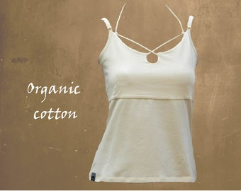 string top organic cotton, camisole biological cotton, sustainable top, fair trade clothing