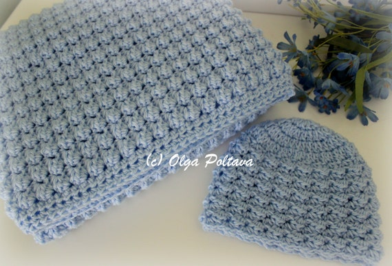 Baby Boy Set Crochet Pattern Baby Blanket And Hat Easy Crochet