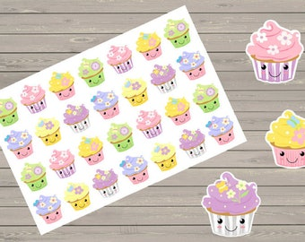 Kawaii Cupcake Stickers Planner Stickers Fits Erin Condren Stickers Birthday Stickers Reminder Stickers Birthday Cupcakes Stickers