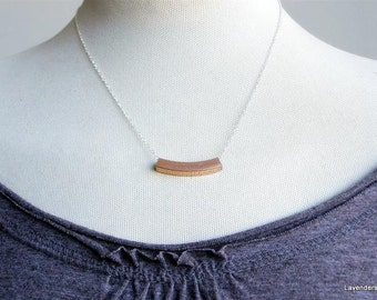 Rose Gold Square Tube Necklace on Sterling Silver Chain , Curved Tube Bar Necklace ,   Everyday Necklace , Industrial  Jewelry
