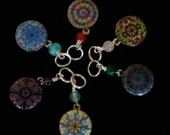 Mandala stitch marker set. 6 different markers for knitting.