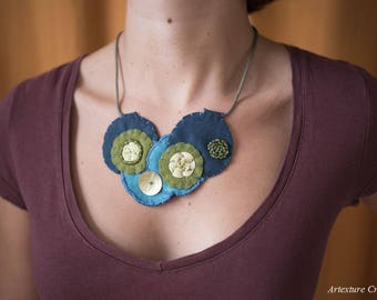Bib necklace turquoise felt circles, gift for her