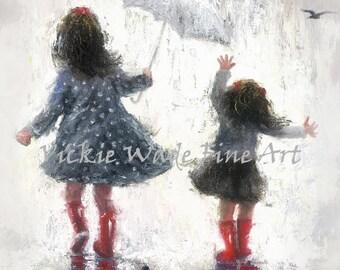 Sisters Art Print, two girls, two sisters, rain sisters, girls bedroom art, navy blue and red, girls room wall art, Vickie Wade art