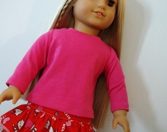 Valentine American Made Trendy Skirt with Tulle fits 18 inch Girl Doll-Pink Long Sleeve Top-Optional Adorable Boots with Pearl Trim