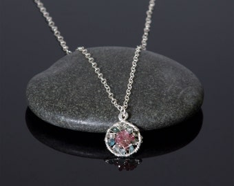 Genuine tourmaline pendant necklace in sterling silver | watermelon tourmaline pendant jewelry | October birthstone charm