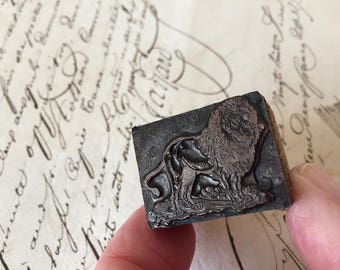 Vintage  Print Block ''Lion'', Brass Letter Press , Print Block Stamp