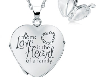 A Moms Love is the Heart of a Family Locket Necklace, Personalized, 925 Silver