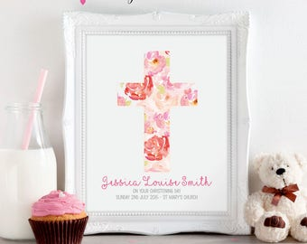 Baby Girl Pink Christening Baptism Naming Day Personalised Print A5 A4 A3 Gift Present