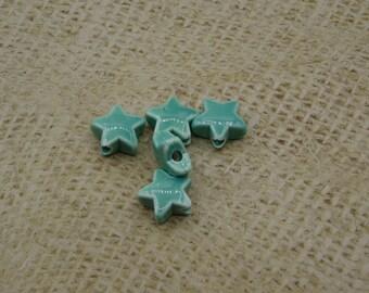 5 handmade 15mm turquoise ceramic star beads