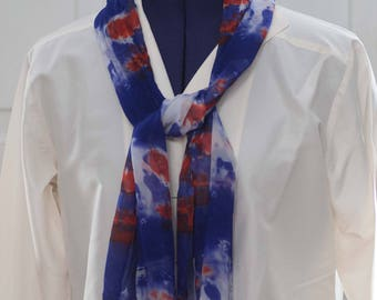 Silk Shibori Scarf - Hand Dyed Silk Scarf - Red, White and Blue - Gift for Her