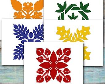 Hawaiian Quilt Design Note Cards, Set of Ten, Breadfruit, Plumeria Maile Hibiscus Anthurium/Casual Note Card/Thank You/Luau/Invitation