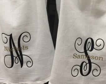 Fancy monogrammed flour sack towel