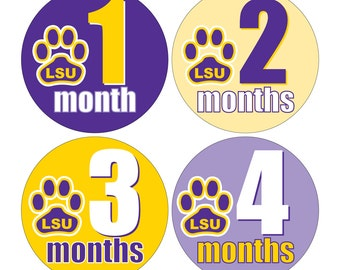 12 Monthly Baby Milestone Waterproof Glossy Stickers - Geaux LSU Tigers - Design M026-01