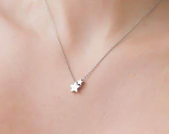 Dainty Two Star Necklace, Two Tiny Silver Stars, Delicate Fine Chain, Rhodium Silver