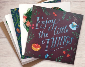 Greeting Cards Set / Note Card Set / Choose your favourite 5 card designs / Hand-drawn illustrations / Inspirational Quote / Thank You Cards
