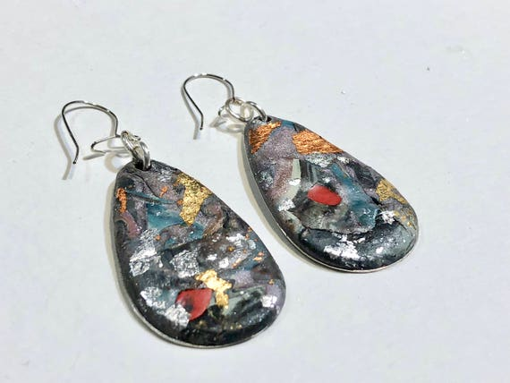 SJC10040 - Earrings - multi color contemporary handmade polymer clay on drop shaped piece with 14 k gold plated ear wire