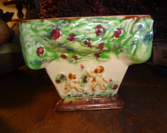 Hand painted glazed bisque ceramic cherub planter